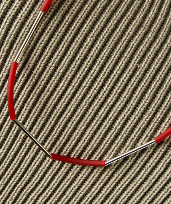 Materia Design ketting zilver-rood